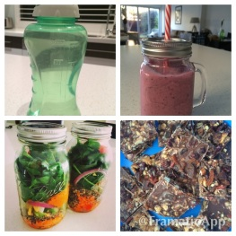 1L water bottle, berry smoothie, salad in a jar, homemade fruit & nut 'chocolate'