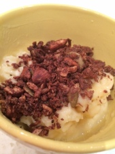 Banana 'icecream' with choc nut granola